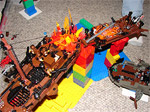 Brightly colored Duplo bricks offer a cheery backdrop to a cataclysmic airship crash.