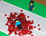No props; no backdrop; only two minifigs standing in the road. In a single arresting vignette, james+burgundy captures the very essence of BrikWars, and then splatters it all over the plastic asphalt.